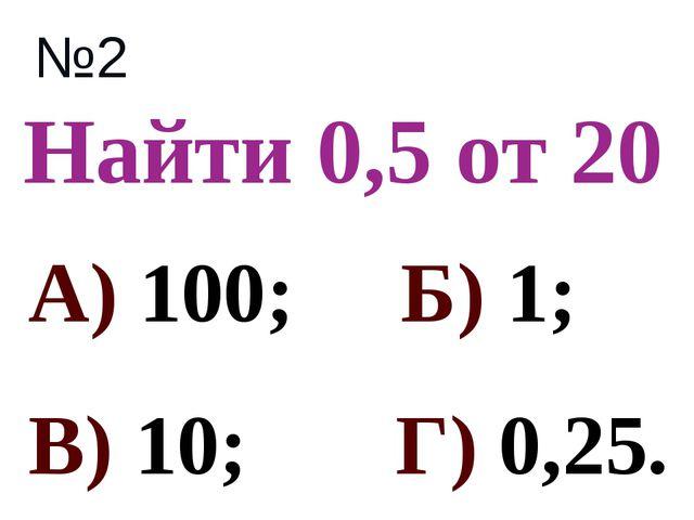Найти 0,5 от 20 №2 А) 100; Б) 1; В) 10; Г) 0,25.