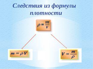Следствия из формулы плотности