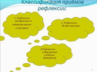 * Классификация приёмов рефлексии: 3.Рефлексия содержания учебного материала