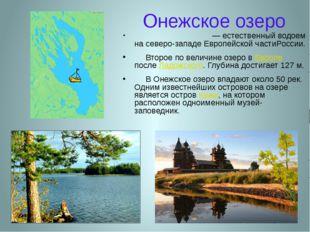 Онежское озеро Оне́жское озеро— естественный водоем на северо-западе Европейс