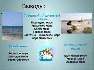 Выводы: Северный - Ледовитый океан Баренцево море Чукотское море Белое море К