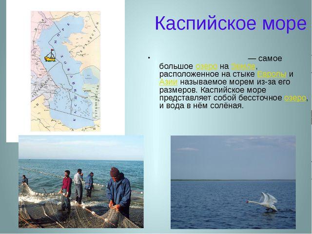 Каспийское море Каспи́йское мо́ре — самое большое озеро на Земле, расположенн...