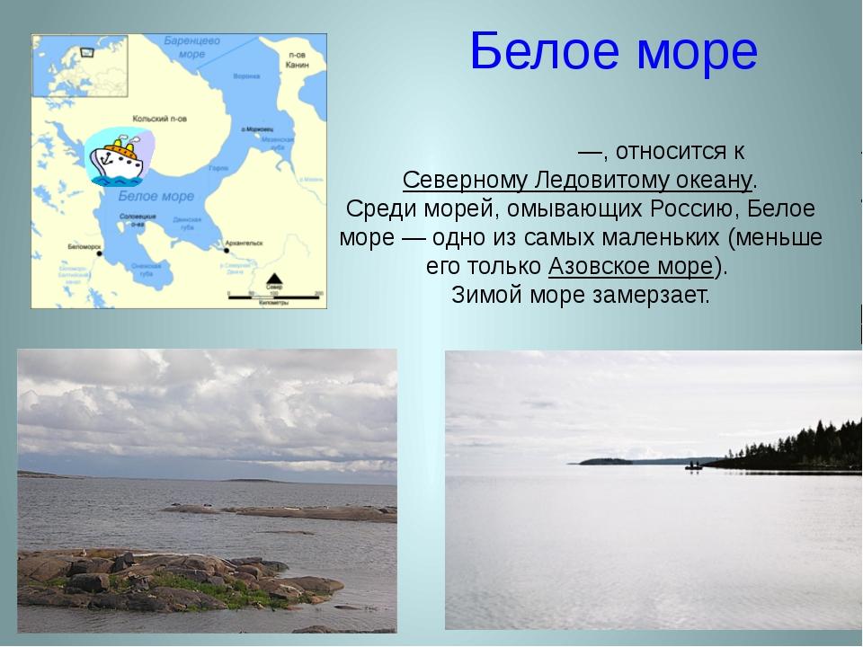 Белое море Бе́лое мо́ре —, относится к Северному Ледовитому океану. Среди мор...