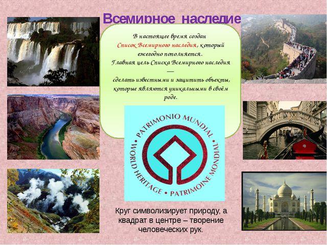 Всемирное наследие В настоящее время создан Список Всемирного наследия, кото...