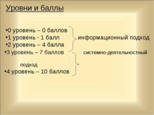 Уровни и баллы 0 уровень – 0 баллов 1 уровень - 1 балл информационный подход