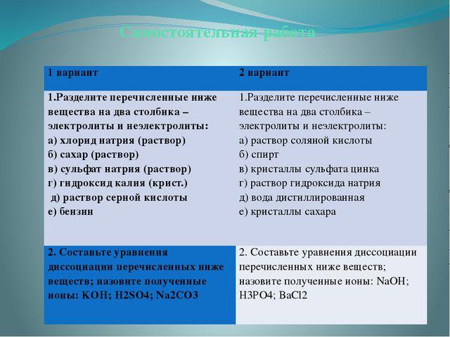 Самостоятельная работа 1 вариант 2 вариант 1.Разделите перечисленные ниже вещ...