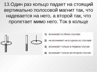 13.Один раз кольцо падает на стоящий вертикально полосовой магнит так, что на