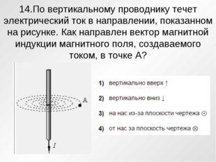 14.По вертикальному проводнику течет электрический ток в направлении, показан