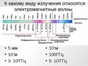 К какому виду излученияотносятся электромагнитные волны 5 мм 10-9м 3· 108ГГ