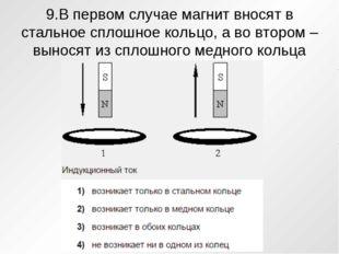 9.В первом случае магнит вносят в стальное сплошное кольцо, а во втором – вын
