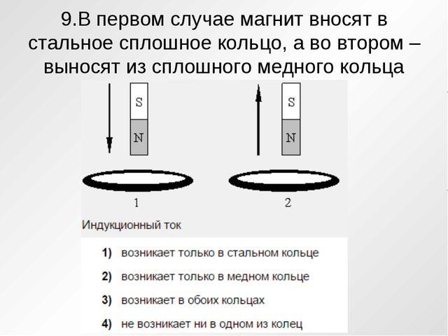 9.В первом случае магнит вносят в стальное сплошное кольцо, а во втором – вын...