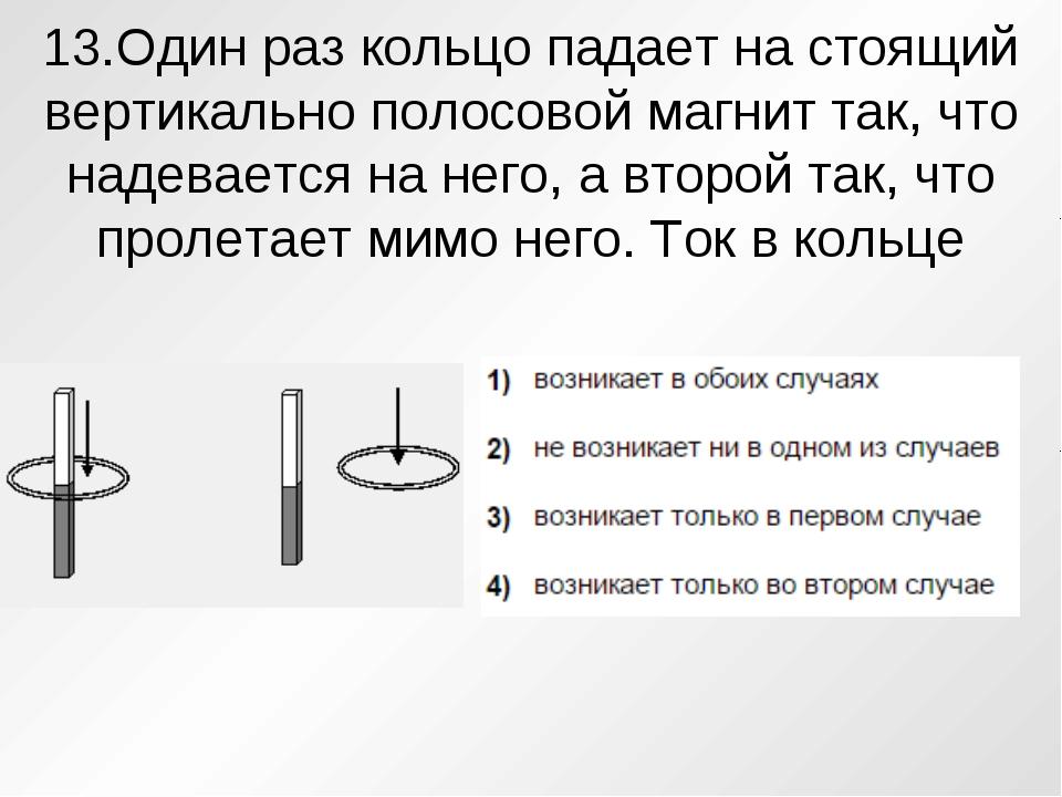 13.Один раз кольцо падает на стоящий вертикально полосовой магнит так, что на...