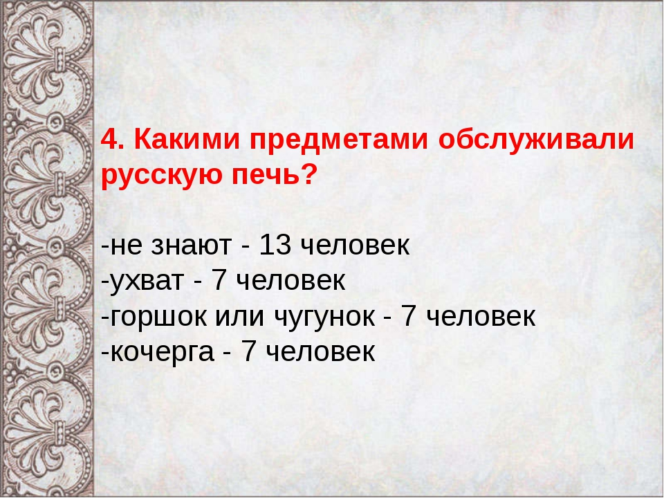 4. Какими предметами обслуживали русскую печь? -не знают - 13 человек -ухват...