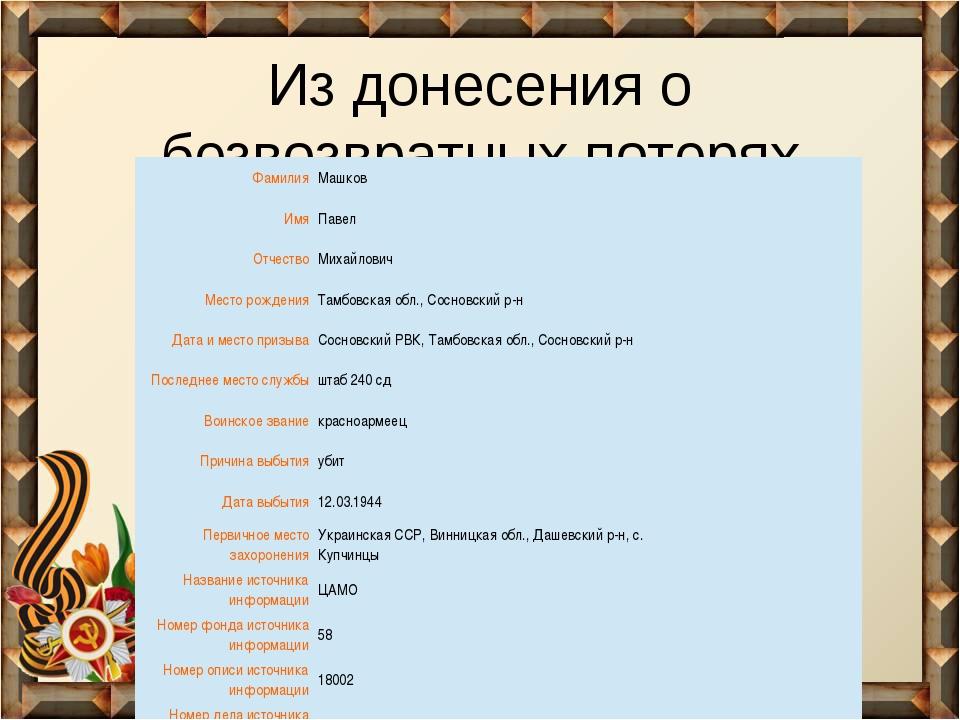 Из донесения о безвозвратных потерях Фамилия Машков Имя Павел Отчество Михайл...