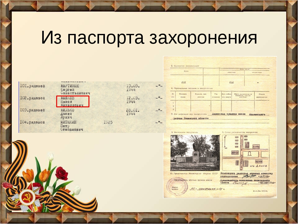 Из паспорта захоронения