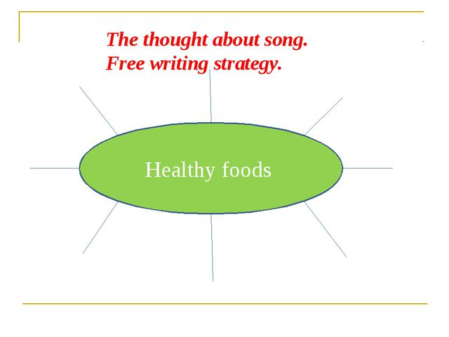 Healthy foods The thought about song. Free writing strategy.