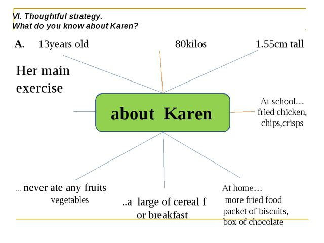 about Karen A. 13years old 80kilos 1.55cm tall … never ate any fruits At hom...