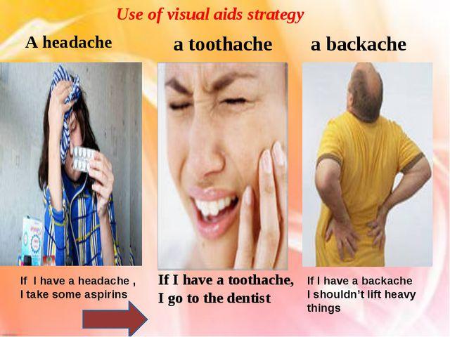 A headache a toothache a backache Use of visual aids strategy If I have a hea...