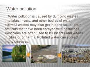 Water pollution Water pollution is caused by dumping wastes into lakes, rive
