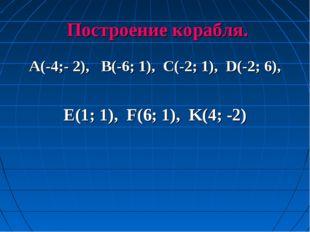Построение корабля. A(-4;- 2), B(-6; 1), C(-2; 1), D(-2; 6), E(1; 1), F(6; 1