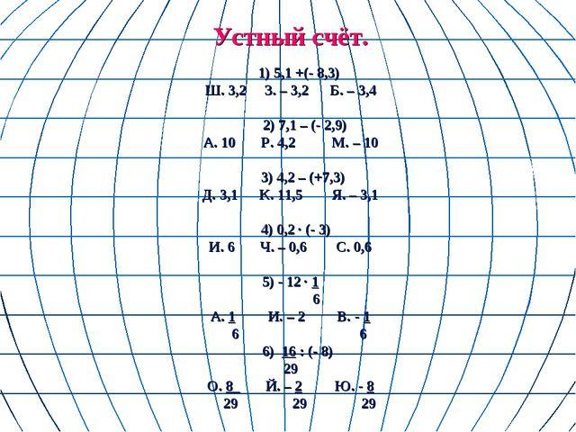 Устный счёт. 1) 5,1 +(- 8,3) Ш. 3,2 З. – 3,2 Б. – 3,4 2) 7,1 – (- 2,9) А. 10...