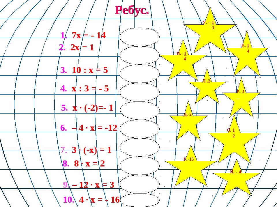 Ребус. 3. 10 : х = 5  6. – 4 ∙ х = -12 7. 3 ∙ (-х) = 1 8. 8 ∙ х = 2 1. 7...