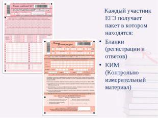 Каждый участник ЕГЭ получает пакет в котором находятся: Бланки (регистрации