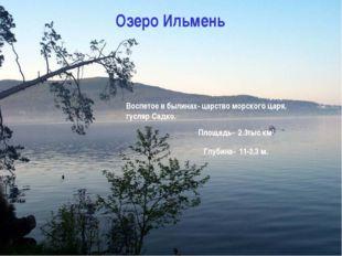 Озеро Ильмень Площадь- 2.3тыс км2 Глубина- 11-3,3 м. Воспетое в былинах- царс