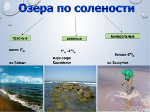 пресные соленые минеральные менее 10/00 10/00 - 470/00 больше 470/00 оз. Баск