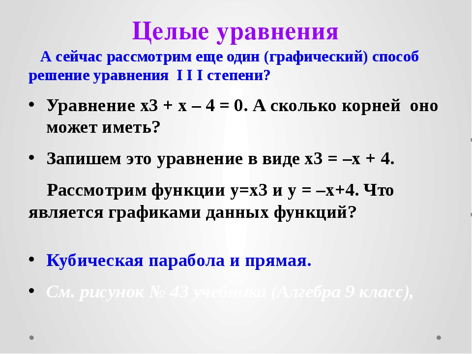 Целые уравнения А сейчас рассмотрим еще один (графический) способ решение ура...