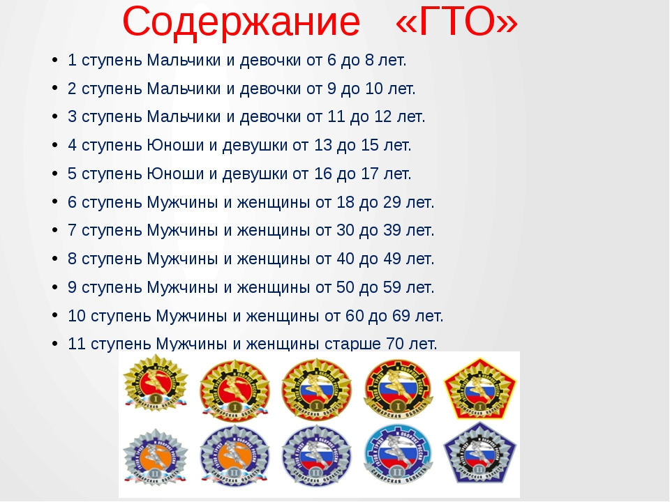 Содержание   «ГТО» 1 ступень Мальчики и девочки от 6 до 8 лет. 2 ступень Ма...
