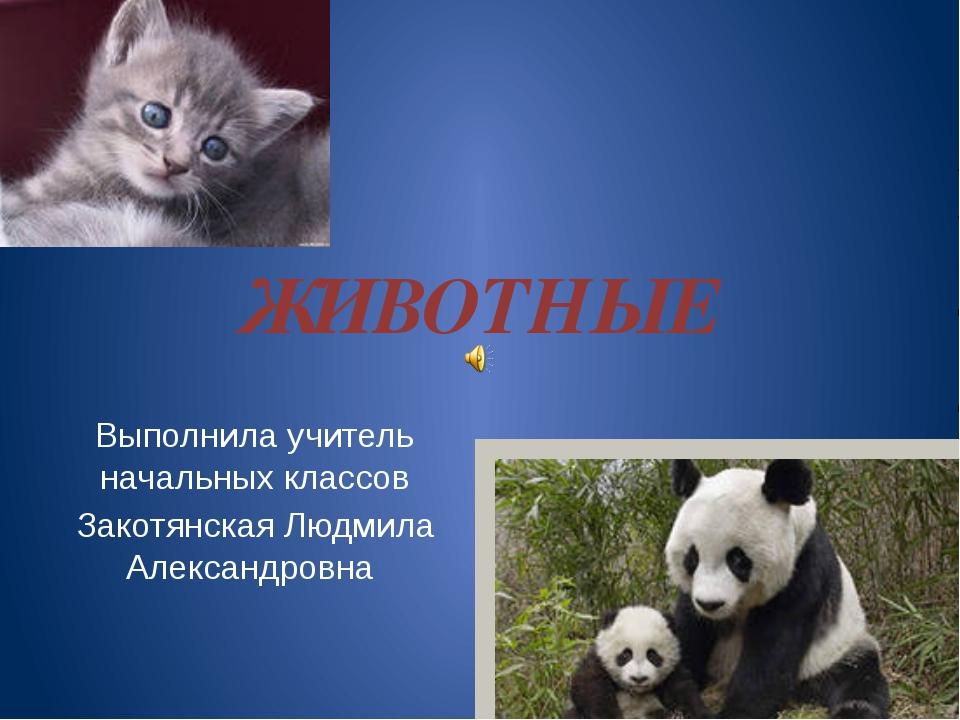 ЖИВОТНЫЕ Выполнила учитель начальных классов Закотянская Людмила Александровна