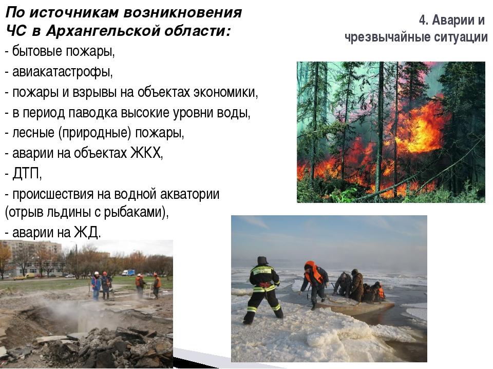 По источникам возникновения ЧС в Архангельской области: - бытовые пожары, - а...