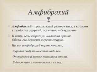 Амфибрахий - трехсложный размер стиха, в котором второй слог ударный, остальн