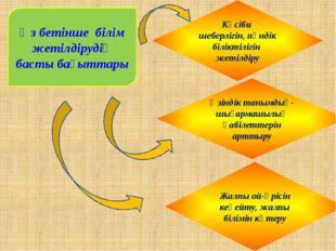 Өз бетінше білім жетілдірудің басты бағыттары Кәсіби шеберлігін, пәндік білік