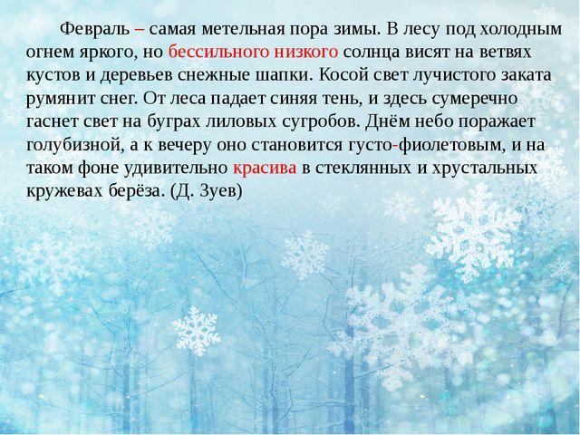 Февраль – самая метельная пора зимы. В лесу под холодным огнем яркого, но...
