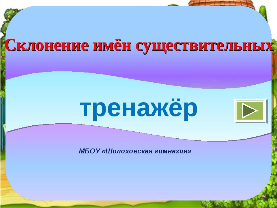 МБОУ «Шолоховская гимназия» тренажёр Склонение имён существительных