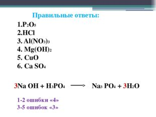 Правильные ответы: 1.P2O5 2.HCl 3. Al(NO3)3 4. Mg(OH)2 5. CuO 6. Ca SO4 3Na O