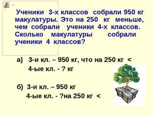 Ученики 3-х классов собрали 950 кг макулатуры. Это на 250 кг меньше, чем соб