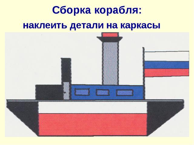 Сборка корабля: наклеить детали на каркасы