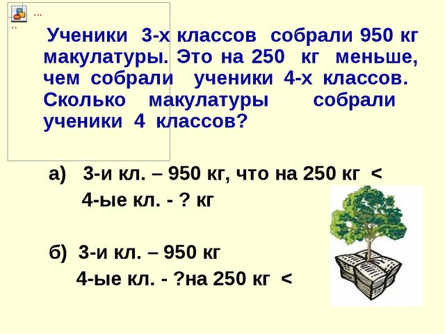 Ученики 3-х классов собрали 950 кг макулатуры. Это на 250 кг меньше, чем соб...