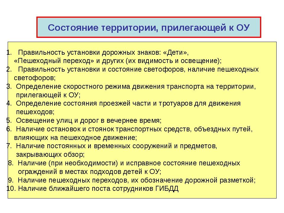 Состояние территории, прилегающей к ОУ 1. Правильность установки дорожных зна...