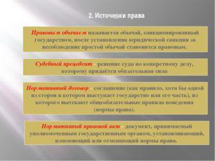 2. Источники права Правовым обычаем называется обычай, санкционированный госу