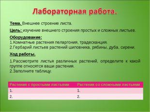 Тема. Внешнее строение листа. Цель: изучение внешнего строения простых и слож