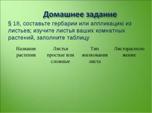 § 18, составьте гербарии или аппликацию из листьев; изучите листья ваших комн