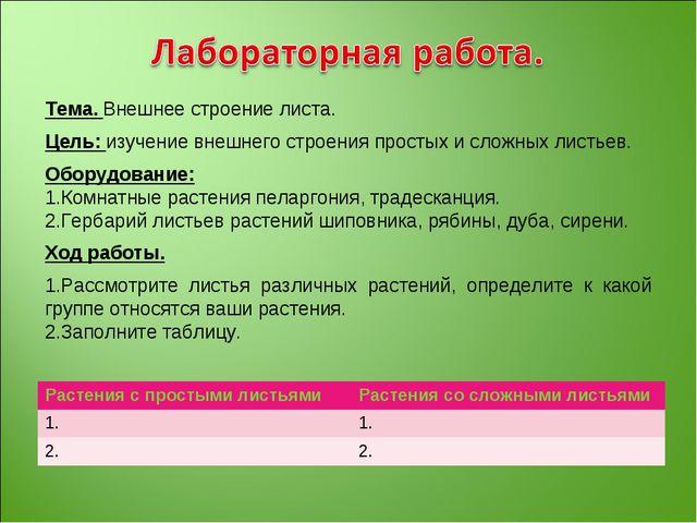 Тема. Внешнее строение листа. Цель: изучение внешнего строения простых и слож...