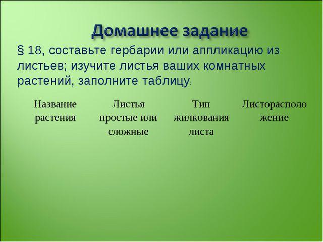 § 18, составьте гербарии или аппликацию из листьев; изучите листья ваших комн...