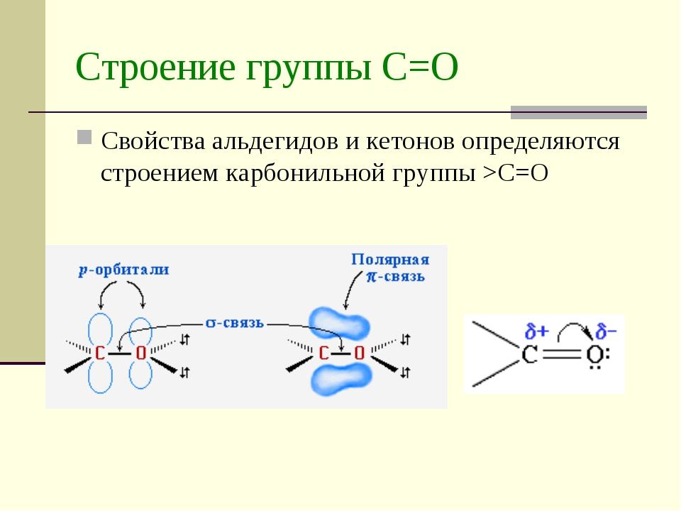 Строение группы С=О Свойства альдегидов и кетонов определяются строением карб...