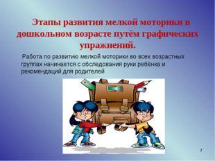 * Этапы развития мелкой моторики в дошкольном возрасте путём графических упра