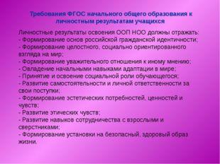 Требования ФГОС начального общего образования к личностным результатам учащи